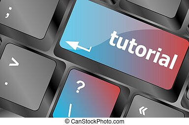 tutorial or e learning concept with key on computer keyboard . keyboard keys. vector illustration