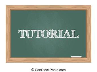 Tutorial text on chalkboard - Tutorial text drawn on...