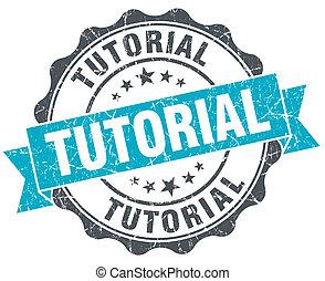 tutorial, vindima, turquesa, selo, isolado, branco