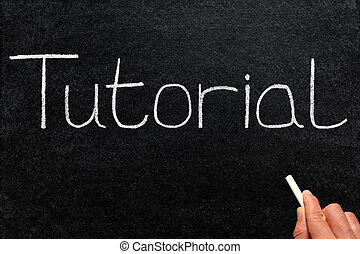 Tutorial written with white chalk on a blackboard.