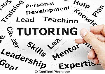 tutoring, papier, woorden, concept