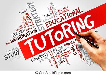 TUTORING word cloud, education concept