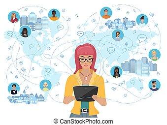 tutta donna, rete, tavoletta, comunicare, media, sopra, persone, giovane, presa a terra, sociale, world., concept.