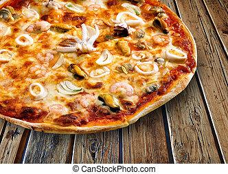 tutti, 木製である, textured, ピザ, frutti, テーブル
