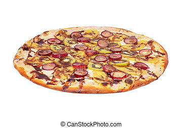 Tutti-frutti pizza, on white background