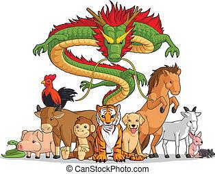 tutto, 12, animali, cinese, toget, zodiaco