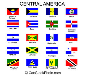 tutto, america, bandiere, paesi, centrale, elenco