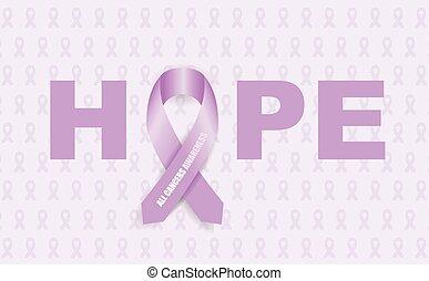 tutto, cancro, consapevolezza, nastro
