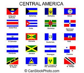 tutto, centrale, paesi, elenco, bandiere, america