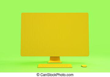 tutto, concetto, fondo., astratto, materiale, interpretazione, singolo, computer, vuoto, arancia, minimo, 3d