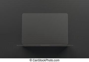 tutto, concetto, laptop, onepiece, materiale, scuro, fondo., singolo, nero, astratto, minimo