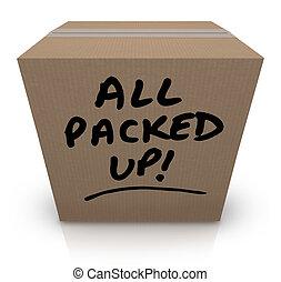 tutto, fatto valigie, scatola cartone, spostamento, riallocazione