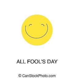 tutto, fool's, day., ridere, emoticon.