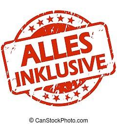 tutto, german), inclusivo, francobollo, rosso, bandiera, (in