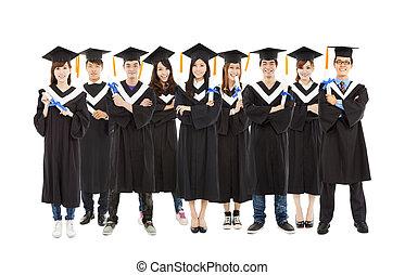 tutto, graduazione, studente, standing, uno, fila