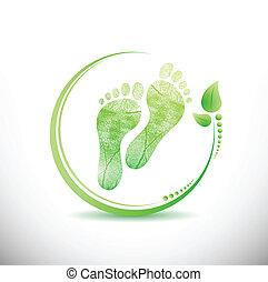 tutto, intorno, foglie, illustrazione, stampa piede