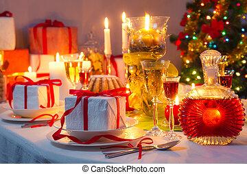 tutto, intorno, lume di candela, regali, tavola, natale