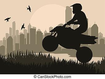 tutto, motocicletta, terreno, fondo, veicolo, quad,...