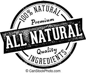 tutto, naturale, francobollo, vendemmia, etichetta prodotto