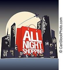 tutto, notte, shopping, design.