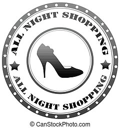 tutto, notte, shopping-label