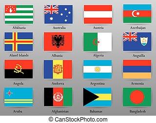 tutto, paesi, 1, parte, bandiere, mondo