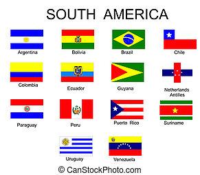 tutto, paesi, elenco, bandiere, america, sud