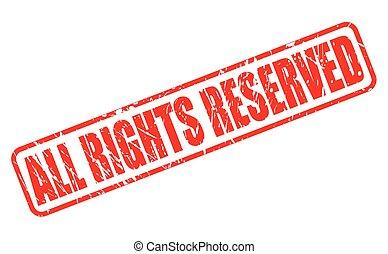 tutto, riservato, diritti, francobollo, testo, rosso