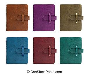 tutto, set, colorare, cuoio, quaderno, fronte, cover.
