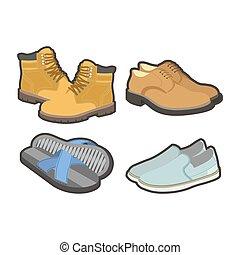 tutto, set, scarpe, isolato, mens, illustrazioni, stagioni