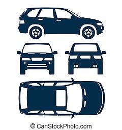tutto, silhouette, forma, automobile, danno, indietro, lato, quattro, suv, affitto, relazione, assicurazione, cima, condizione, vista