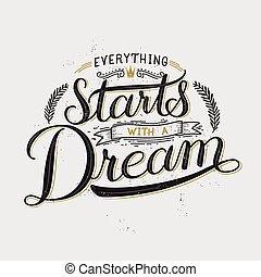 tutto, sogno, calligrafia, inizi