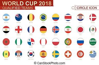 tutto, tazza, squadre, qualificato, mondo, 2018, flags.