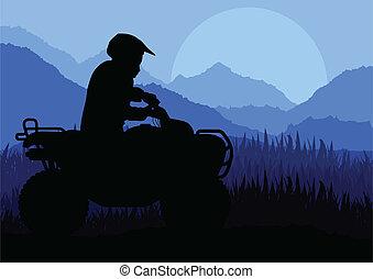 tutto veicolo terreno, quad, motocicletta, cavaliere, fondo