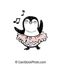 tutu, danse, griffonnage, dress., style., mignon, manchots, animaux, girl, croquis, caractère, bébé, ballerine