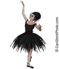 tutu, peu, noir, gothique, ballerine