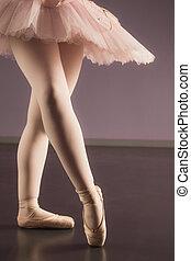 tutu, staand, ballerina, roze