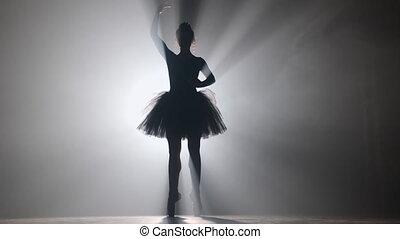 tutu, stage., balerina, profesjonalny, strumienice, młody, balet, 4k, tło., strój, dziewczyna, taniec, czarnoskóry, piękny, chodząc, dym, white., cielna, floodlights