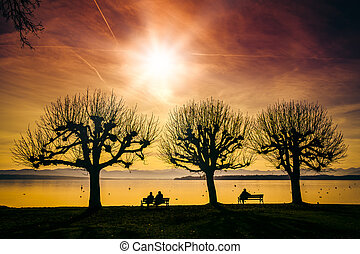 Tutzing evening mood - An image of the Starnberg Lake in...