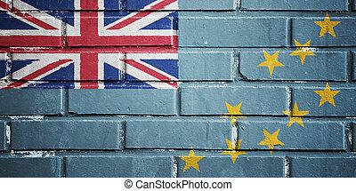 Tuvalu flag on brick wall