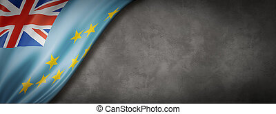 Tuvalu flag on concrete wall banner