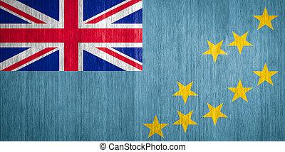 Tuvalu Flag on wood background