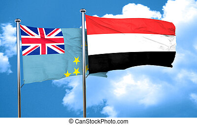 Tuvalu flag with Yemen flag, 3D rendering