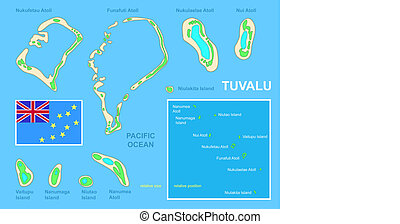 Tuvalu map and Flag - Bright and colorful map of South...
