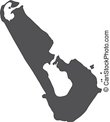 Tuvalu map in black on a white background. Vector illustration