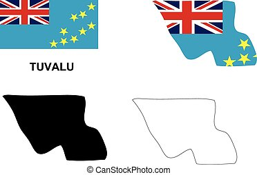 Tuvalu map vector, Tuvalu flag vector, isolated Tuvalu
