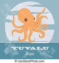Tuvalu. Octopus. Retro styled image.