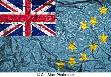 Tuvalu vintage flag on old crumpled paper background