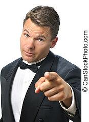 Tux man points finger - Handsome Caucasian man in black ...