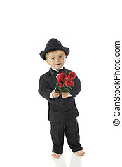 Tuxed Toddler with Roses
